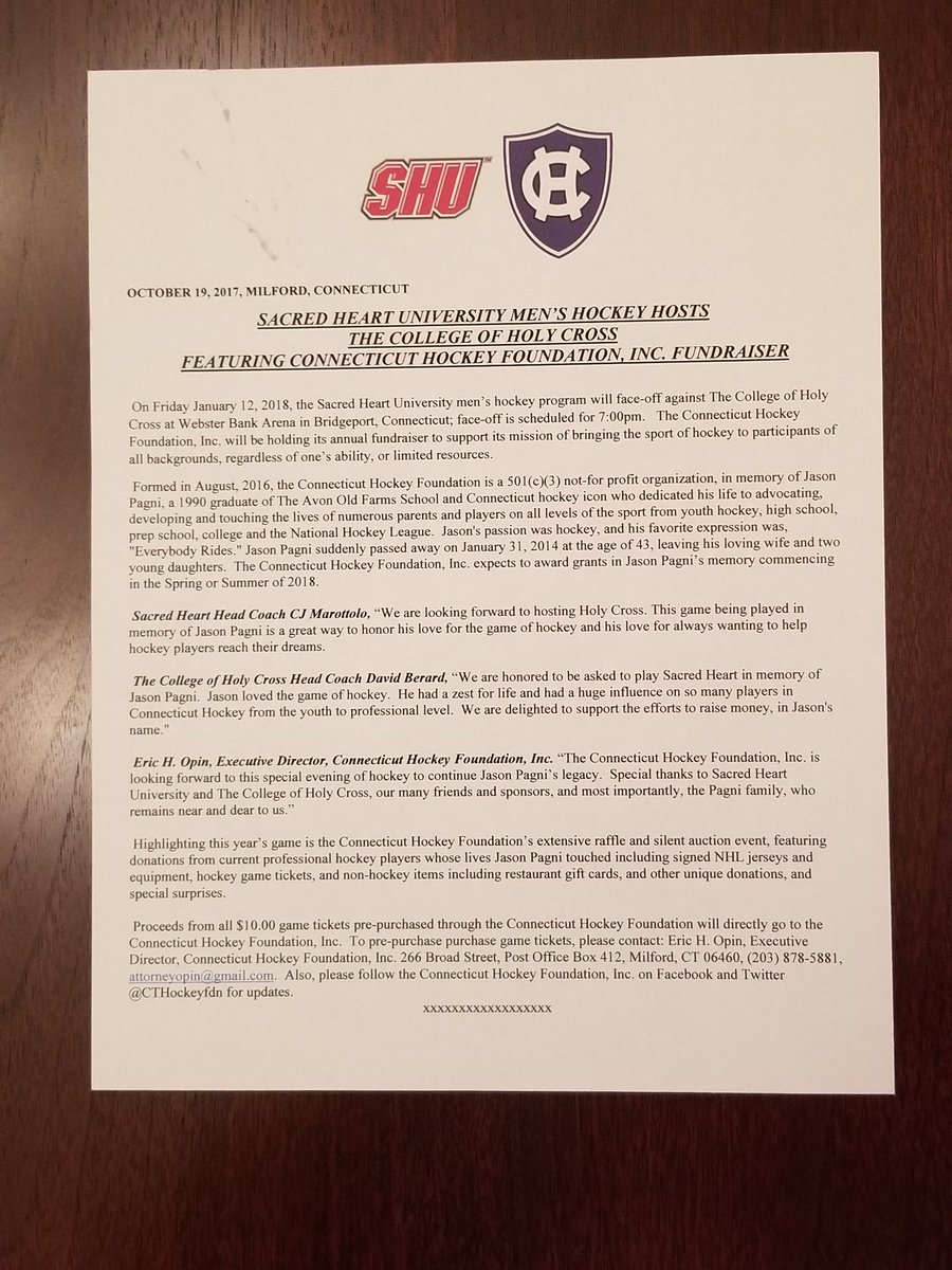 Press release announcing this season&#39;s @CTHOCKEYFDN Game between @SHUHockey v. @HCrossMHockey   Friday 1-12-18 7pm @Webster_Arena #joinus <br>http://pic.twitter.com/Yk60naxp03