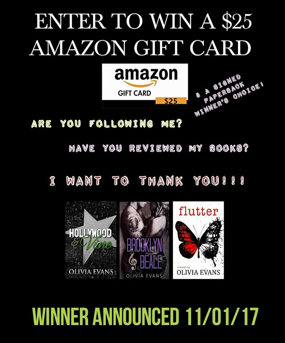 #giveawayfrom #author @OliviaDEvans  #win a $25 #amazon #giftcard and a signed #paperback of your choice.  https://www. facebook.com/pages/Olivia-E vans/353681418133747 &nbsp; … <br>http://pic.twitter.com/8sDED1dFQw