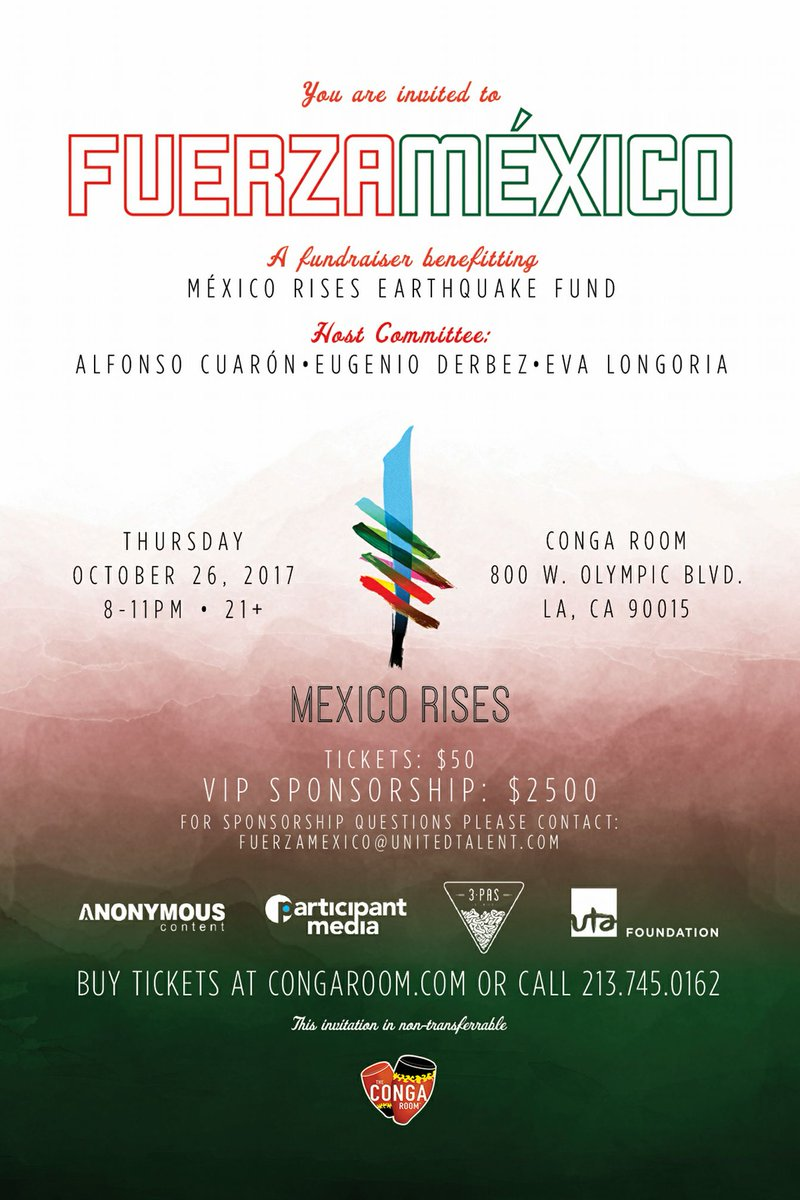 .@AlfonsoCuaron strong supporting with his initiative &quot;#MexicoRises&quot;  Another chance to to help!  #FuerzaMéxico  @EvaLongoria @EugenioDerbez<br>http://pic.twitter.com/gVmBG2rjA0