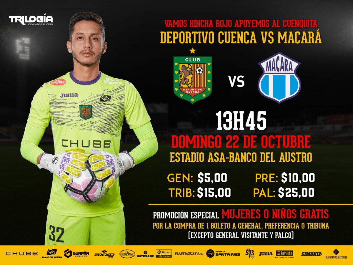 Precios de los boletos para mano a mano del Deportivo Cuenca y Macará
