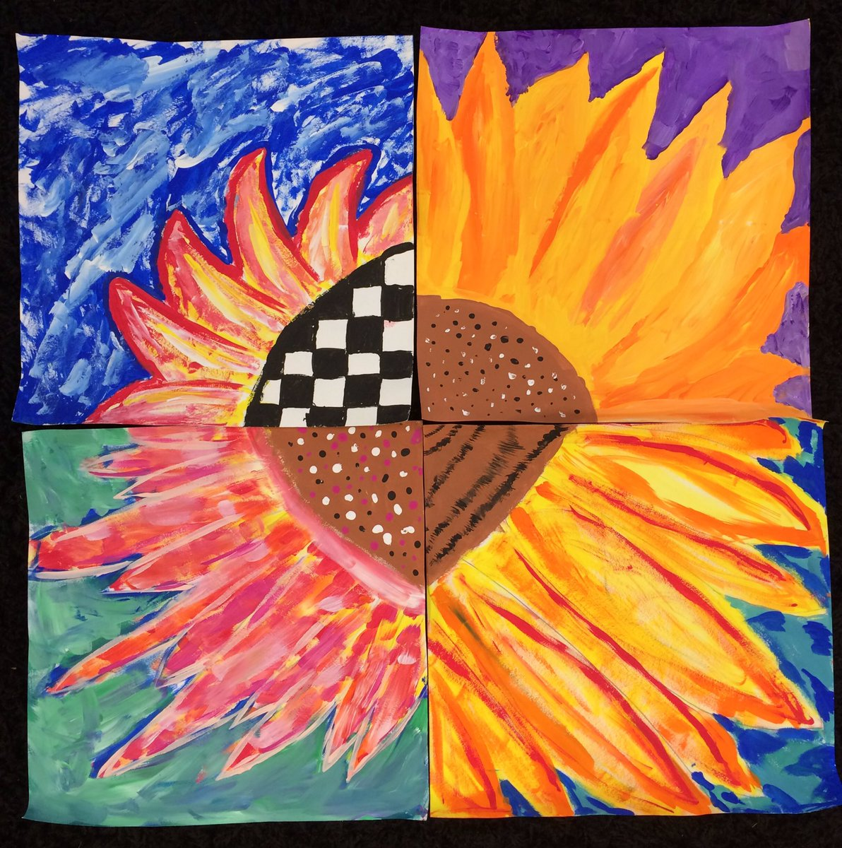 Totally in LOVE with our newest 3rd &amp; 4th grade Van Gogh inspired project. #vangogh #fractions #sunflowers #warmandcoolcolors  @BryantElem<br>http://pic.twitter.com/t7wIE9emVw