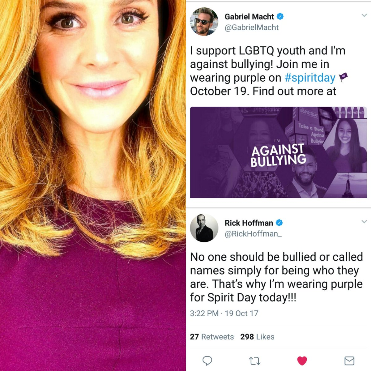 The #Suits cast uniting people &amp; raising awareness against bullying on  #SpiritDay   Obviously we chose the right fandom.<br>http://pic.twitter.com/5MbZLO2scG