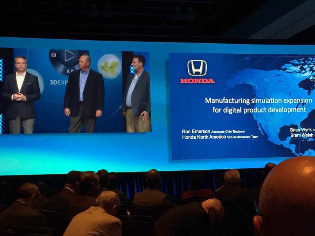 Great Honda presentation by Ron Emerson, Brian Wynk, and Brent Welsh at the 3DEXPERIENCE Forum #3DEXPERIENCE #Honda <br>http://pic.twitter.com/Tx6AdTBRZI
