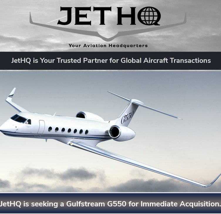 @JetHQAv is seeking a Gulfstream G550 for Immediate Acquisition! #bizjet #bizav #aircraftwanted See more at  http:// ow.ly/9Z7y30g01TW  &nbsp;  <br>http://pic.twitter.com/dXhNvpZan1