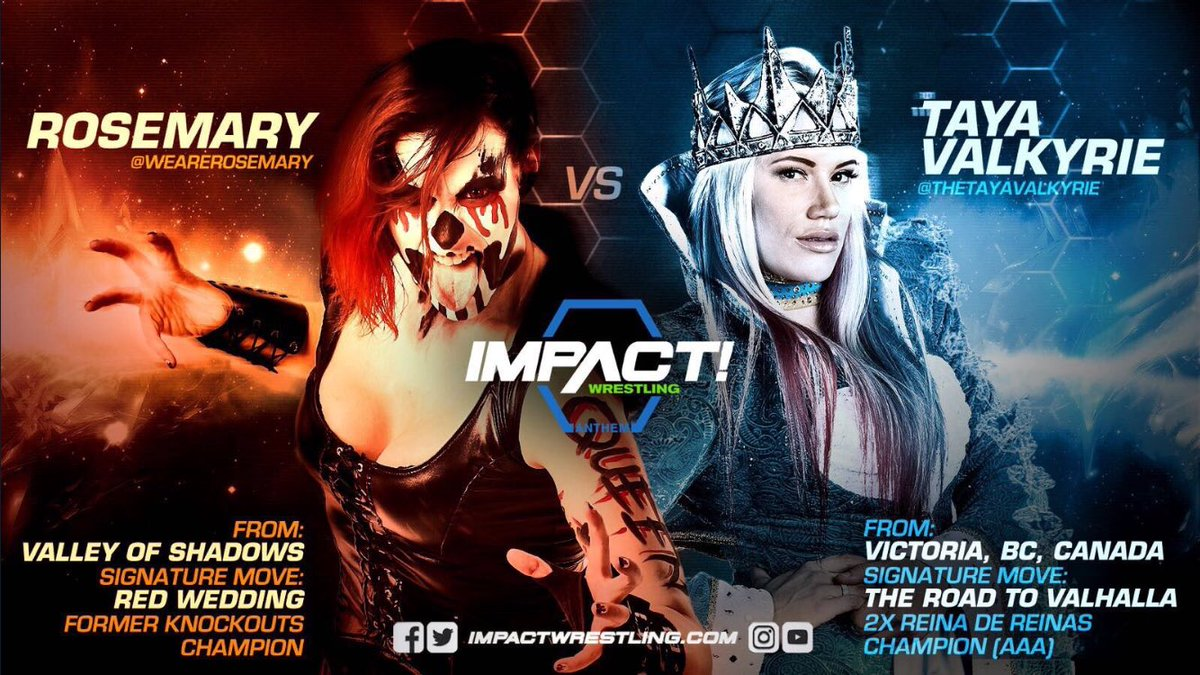.@TheTayaValkyrie vs @WeAreRosemary is going to be lit!!!  #ImpactWrestling #IMPACTonPOP<br>http://pic.twitter.com/A1nHz0tLFc