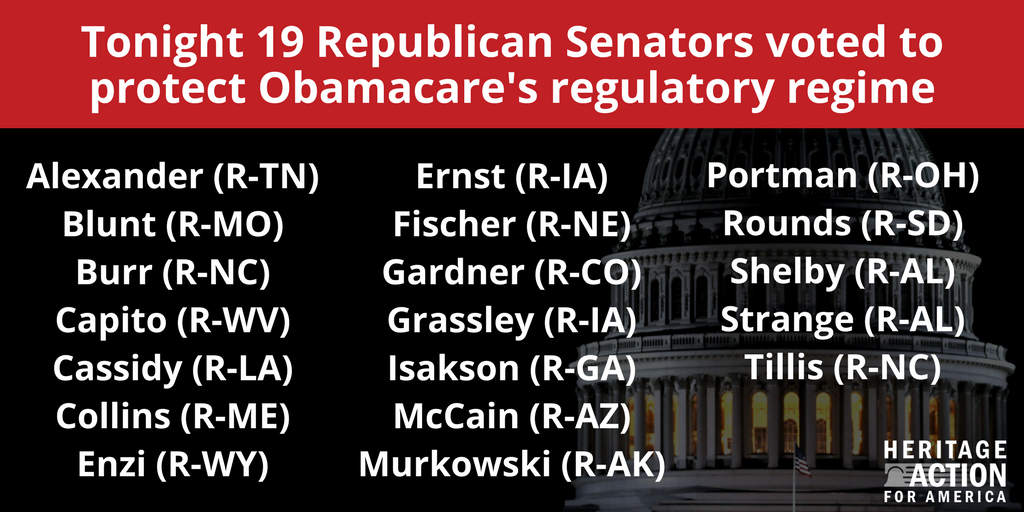 Tonight, 19 GOP senators voted to protect #Obamacare, going back on their repeated promises to the American people. <br>http://pic.twitter.com/L07pPxvupf