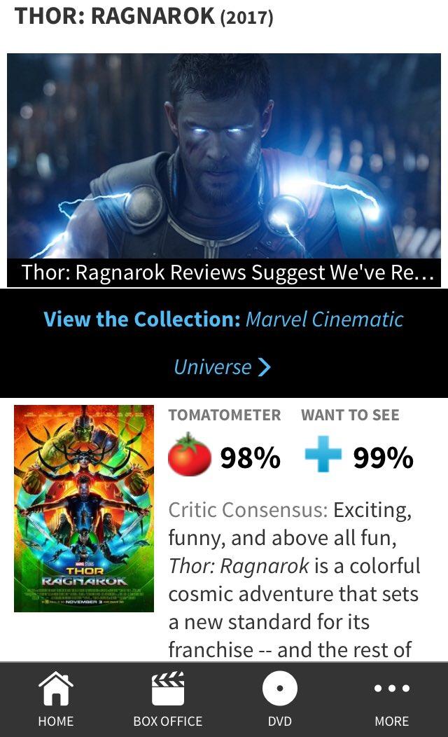 Nice to see #ThorRagnarok  is 98% #Fresh    Ok see u on Okt 25th in Cinema   #Marvel @CenayangFilm<br>http://pic.twitter.com/KBRi1y1mQY