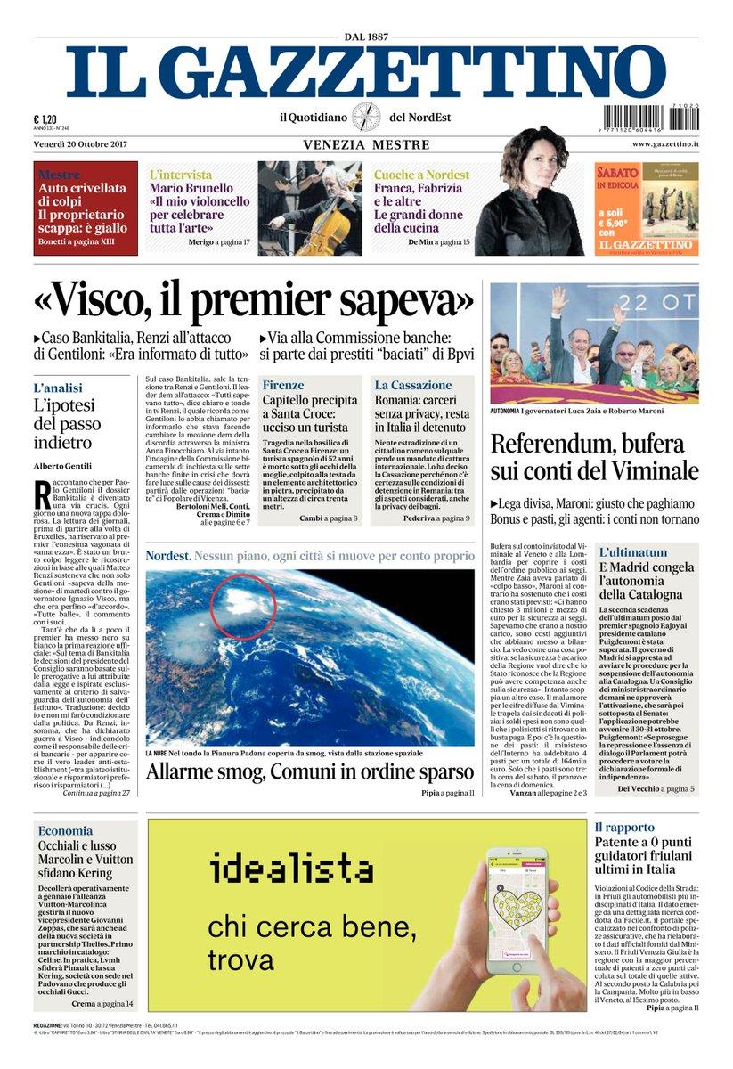 Ecco la #primapagina del Gazzettino http...