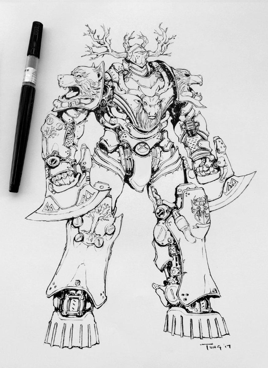 #Inktober no.4 Steam Knight Esclados #inktober2017 #steamknights #knightsoftheroundtable #mecha #robot #giantrobot<br>http://pic.twitter.com/u4Y2CqB1G1