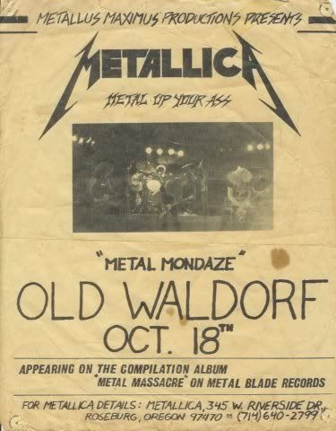 #ThrowbackThursday  Metallica performed at the Old Waldorf in San Francisco.  Oct 18th 1982 <br>http://pic.twitter.com/l3x3bJYuv9