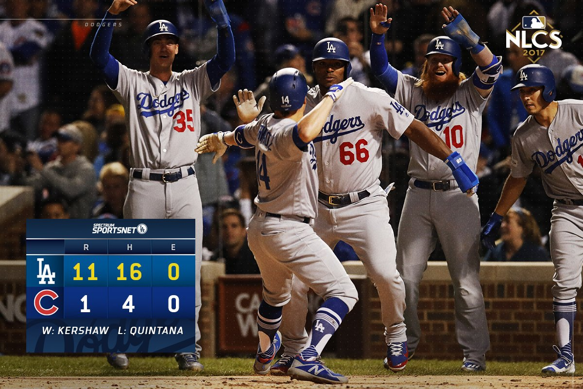 That's a wrap! The #Dodgers rout the Cubs in Game 5 to book their ticket to the #WorldSeries . #ThisTeam <br>http://pic.twitter.com/p2XXxWs8JW