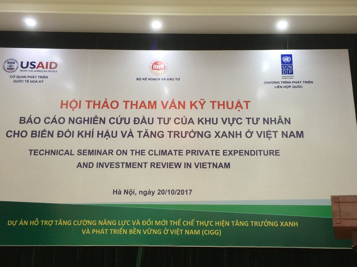 Discussing first ever #Vietnam #Private #ClimateExpenditure &amp; #Investment Review (PCEIR). Right policy incentives..key to boost investment.<br>http://pic.twitter.com/Gtk8D6d67c