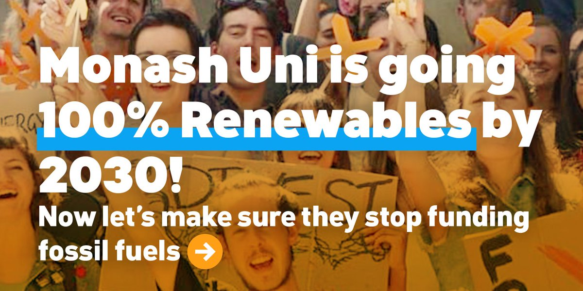 YAS @MonashUni just became 1st uni in Oz to commit to 100% renewables by 2030!   Next step? #Divest from oil &amp; gas!  http:// bit.ly/2xaJtyJ  &nbsp;  <br>http://pic.twitter.com/q8URsRZEv8