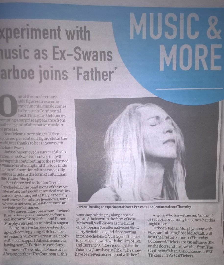Much #JARBOE love in today&#39;s @leponline. Catch the SWANS legend with FATHER MURPHY nxt Thurs 26  http:// newcontinental.net/whats-on/event /jarboe-swans-father-murphy &nbsp; …  #gigs #Preston #UK<br>http://pic.twitter.com/ZDLCqoLMNH