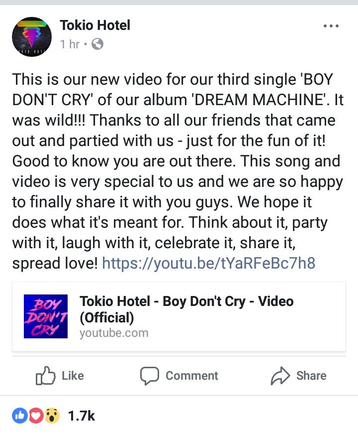 - @tokiohotel on #Instagram: This is our new video for our third single &#39;BOY DON&#39;T CRY&#39; …  Link for video:  https:// youtu.be/tYaRFeBc7h8  &nbsp;  <br>http://pic.twitter.com/PqSRLtplcg