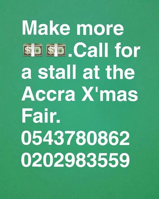 Call now to reserve your space!  #AccraXmasfair #Christmas #December #clothes #shoes #food #drinks #hampers<br>http://pic.twitter.com/B9vRIf4u60
