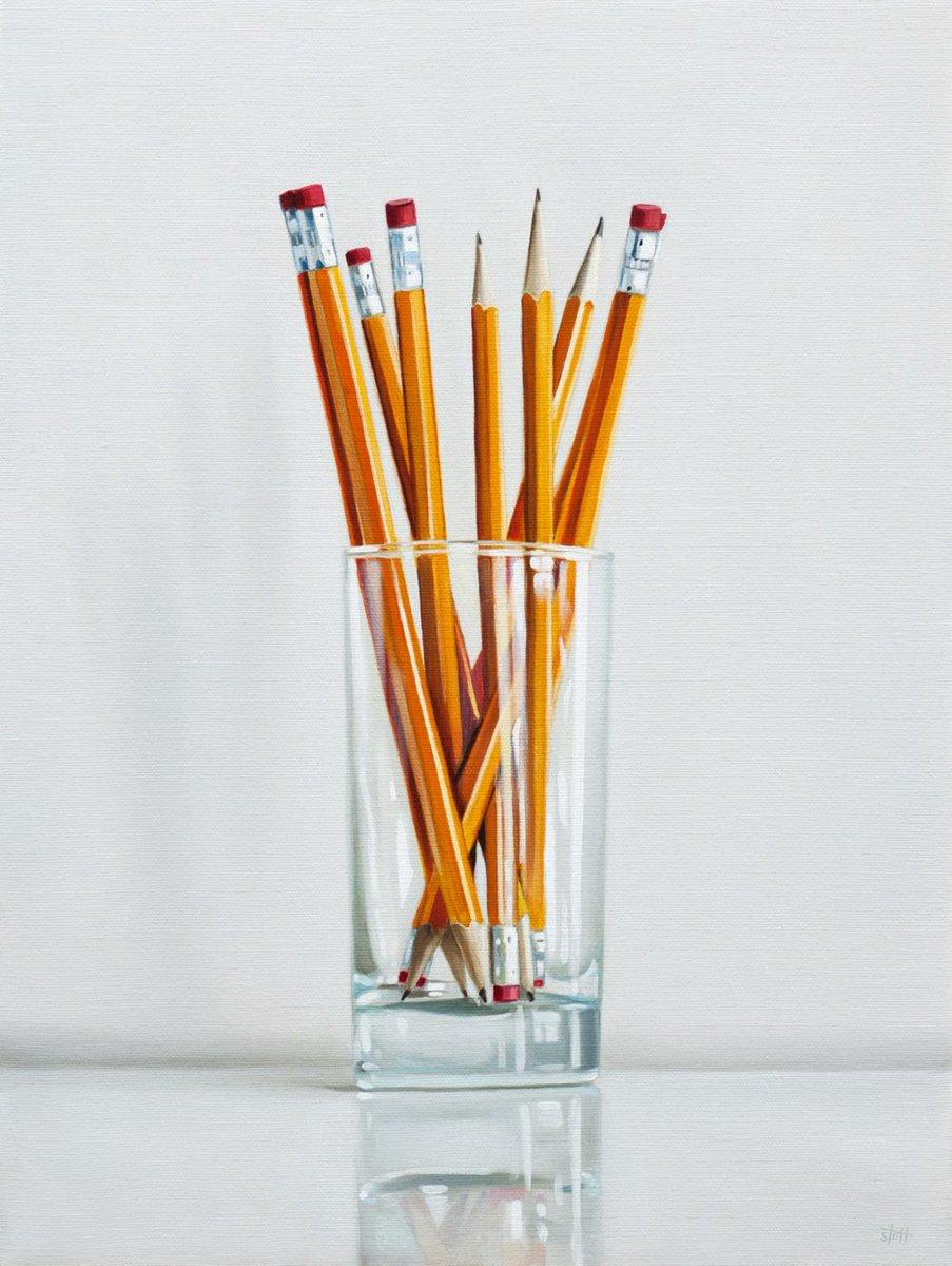 Christopher Stott y los objetos de escritorio (Realistic Paontings: #2 Pencils; Underwood Typewriter; Black Books)   chrisstott.com