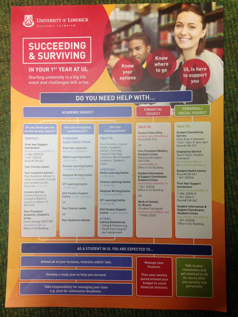 &#39;Suceeding and Surviving First Year in @UL ! 11.30am &amp; 1.30pm in C1 061! Tips shared, questions answered &amp; nice prize to be won.#StudyatUL <br>http://pic.twitter.com/U7hPX0HMPK