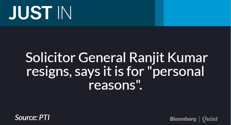 Solicitor General Ranjit Kumar has resig...
