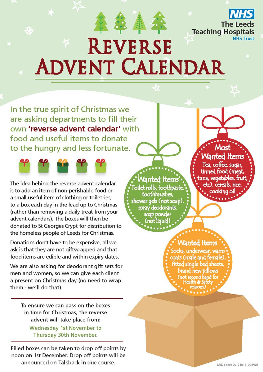 Join in this years Reverse Advent campaign running from 1st - 30th November for donations  #LTHT_StaffWellbeing #ReverseAdvent #FeelGood <br>http://pic.twitter.com/GGmQqmV3xS