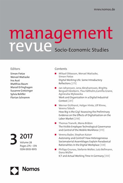 Now available in our #eLibrary: management revue 3/17 on #digital working life  #DigitalWorkplace --&gt; http:// bit.ly/2xSneNl  &nbsp;  <br>http://pic.twitter.com/SnP7kv6iHl