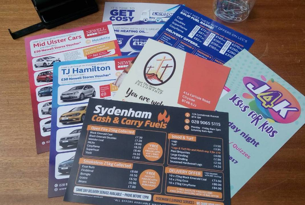 Some of today&#39;s a5 flyers ready for despatch - all designed and printed on site in our Cookstown factory! #design #print #deliver #branding<br>http://pic.twitter.com/Am2yredxBk
