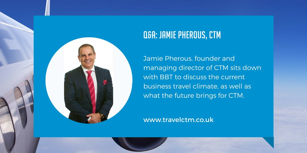 Jamie Pherous, founder and managing director of CTM discusses the current #businesstravel climate  https:// hubs.ly/H08Z0w10  &nbsp;   #biztalk <br>http://pic.twitter.com/OrE5wrKIRy