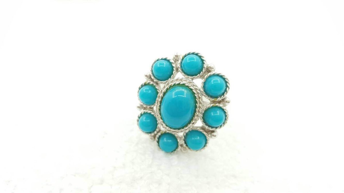 Sarah Coventry Blue Sun  Ring  1971 Gorgeous Turquoise South West Large Adjustable  https:// seethis.co/JQ7Mzy/  &nbsp;   #midcentury #necklace<br>http://pic.twitter.com/R567vhZwVh