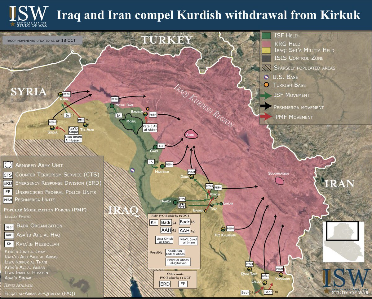 NEW #Iraq #map update, covering the joint #Iranian proxy &amp; GoI offensive in #Kirkuk, northern #Iraq.  http:// bit.ly/2xVrrES  &nbsp;   #Kurds<br>http://pic.twitter.com/DV4y5WFSGy