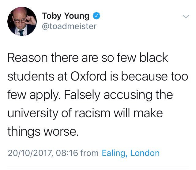 Toby Young on black people getting into Oxford vs Toby Young on Toby Young getting into Oxford