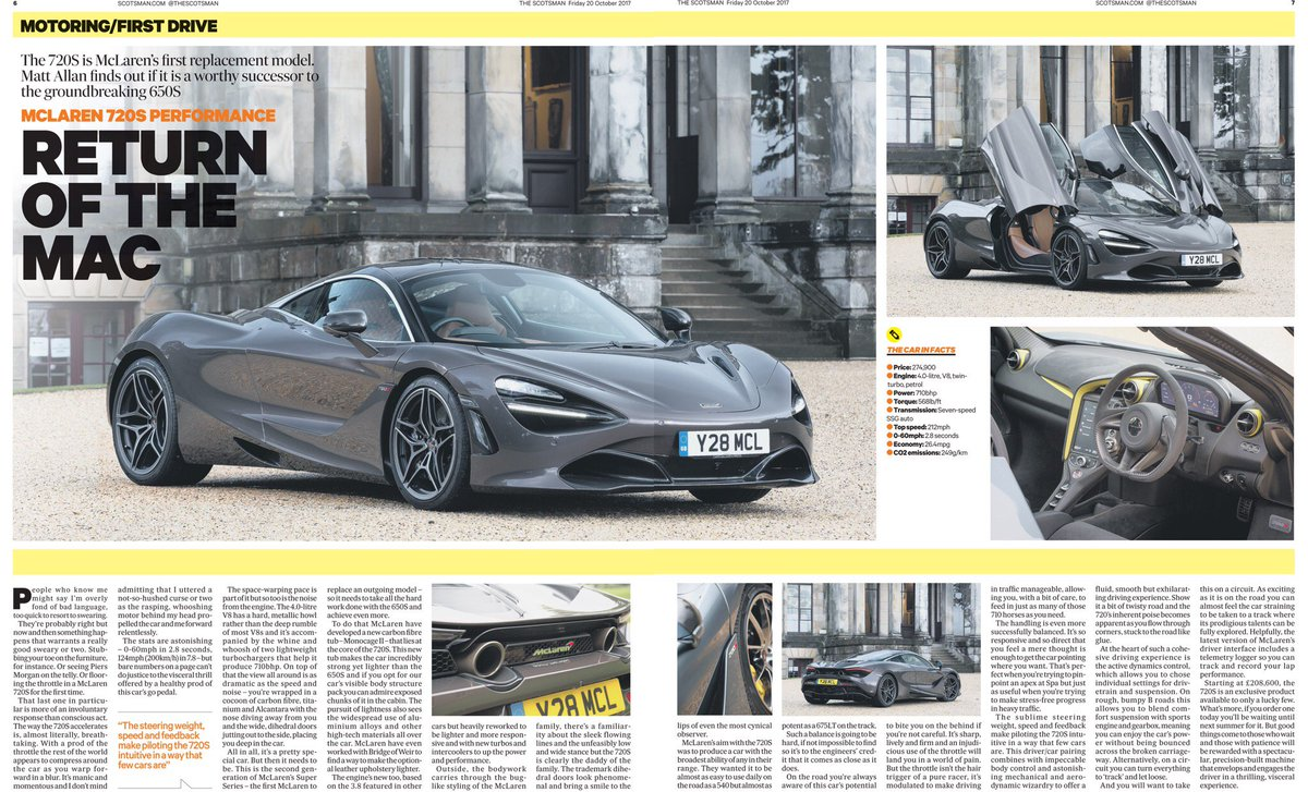 The @McLarenAuto 720S sets off the house beautifully in today's @TheScotsman following the recent #McLaren events at Broomhall House <br>http://pic.twitter.com/5lF4VEJpBU