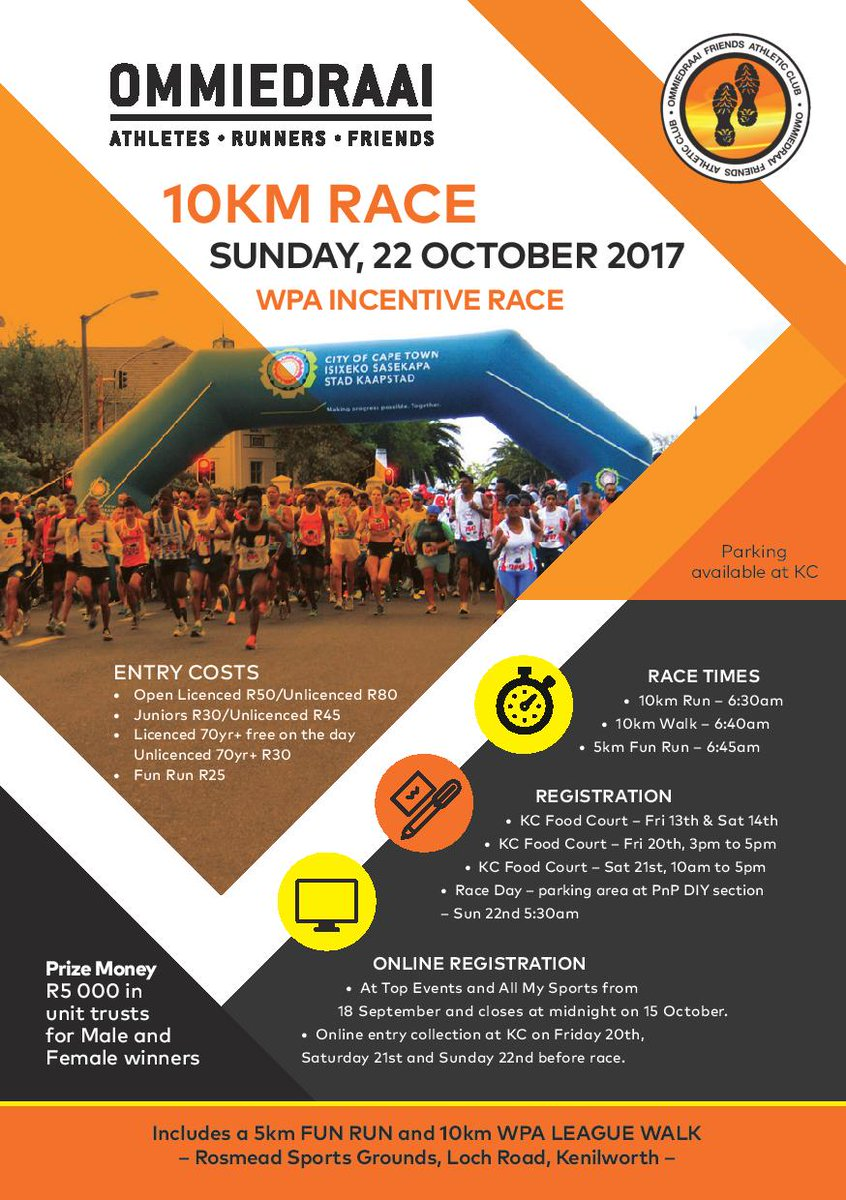 Don&#39;t miss this one on Sunday, 22 Oct 2017 #ommiedraai #10km #funrun #5km #OneTeamOneDream #wpathletics<br>http://pic.twitter.com/zacIhz11vY