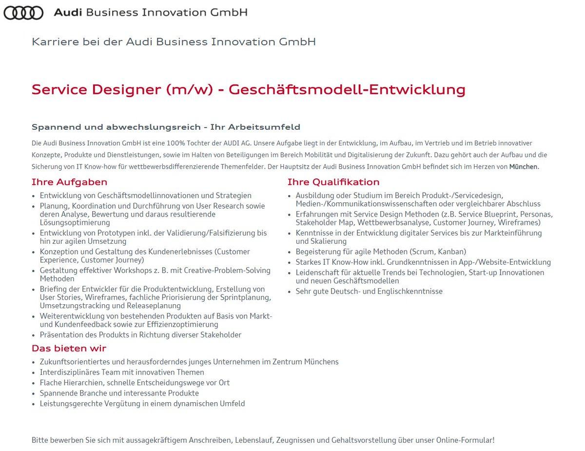 innovation audi httpskarriereaudibusinessinnovationcomservice designer mw geschaeftsmodell entwicklung de j80htmlsid245earqeg62j3rpim8i74ikn44 - Audi Bewerben
