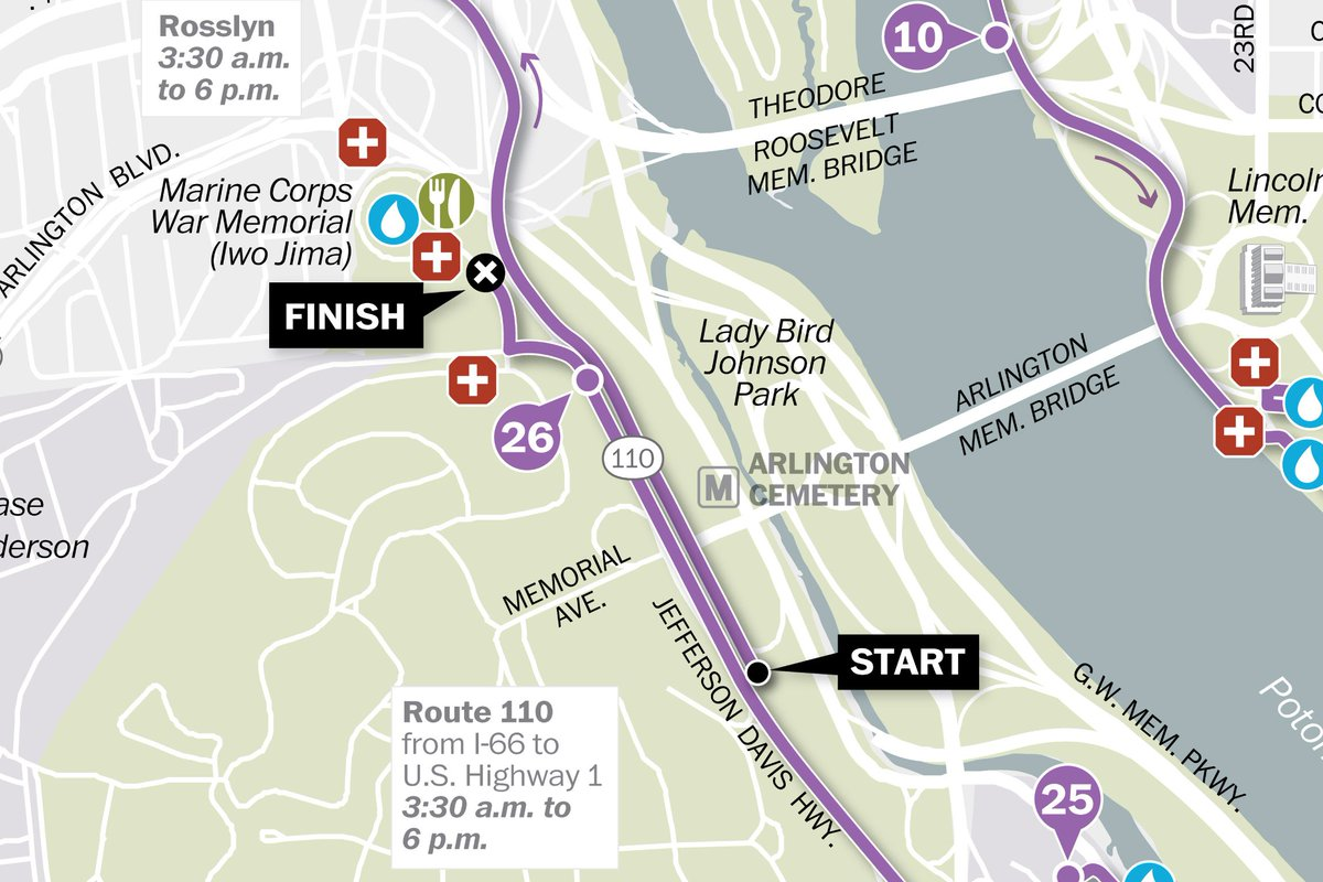 The 42nd Marine Corps Marathon will start just before 8 a.m. Sunday. Here's a map of the route: https://t.co/KgqQcO5LNg
