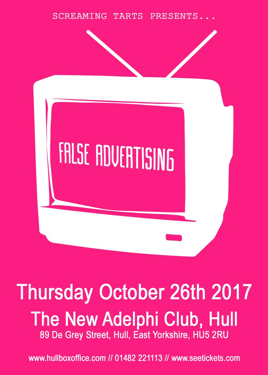 Thursday 26th: @SCREAMING_TARTS presents @falseadv Tickets available from @seetickets #Hull #livemusic @livemusicinhull #WhatsOn #gigs <br>http://pic.twitter.com/BNzv81xVmf