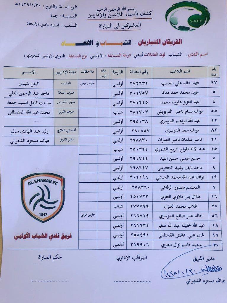 📄 قائمة أولمبي #الشباب في مواجهة الاتحاد...