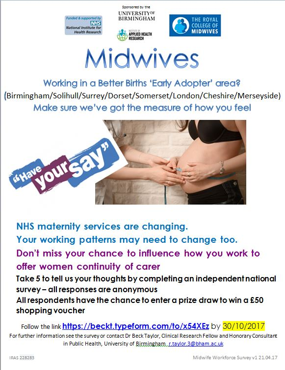 #Midwives, can you change the place/time/way you work for #continuity and  #BetterBirths? Survey here  http:// beckt.typeform.com/to/x54XEz  &nbsp;  . @MidwivesRCM<br>http://pic.twitter.com/khxSYJwhVn