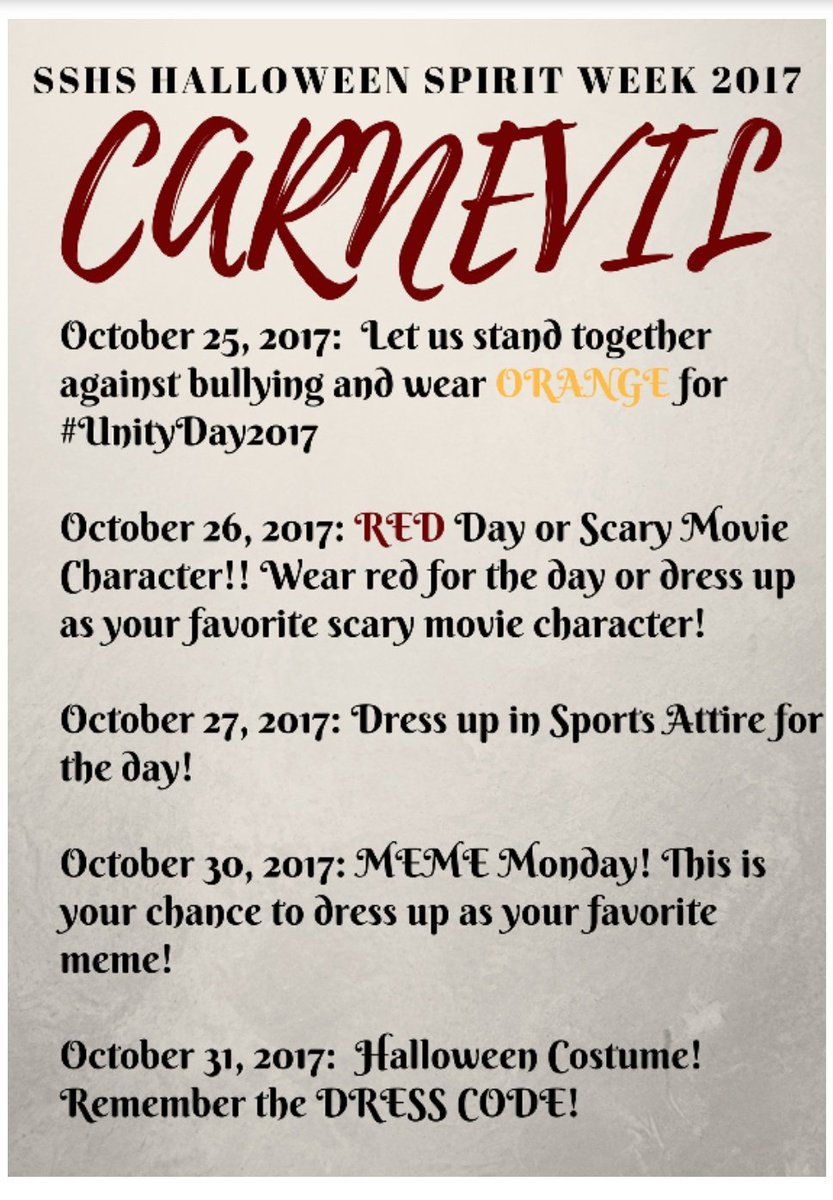 "sshs mantas on twitter: ""halloween spirit week! support your class"