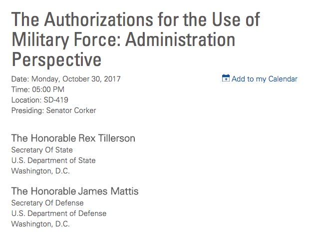 Well look at that. The Senate Foreign Relations Cmte just announced a hearing on war authorization. Mattis and Tillerson are witnesses.