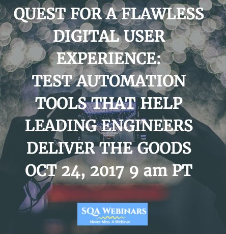 #Test #Automation #Tools That Help #Leading #Engineers #Deliver The #Goods OCT 24, 2017 9 am PT  URL  http:// bit.ly/2gTz2cu  &nbsp;   @ApplitoolsEyes<br>http://pic.twitter.com/HF8JLXhtCk