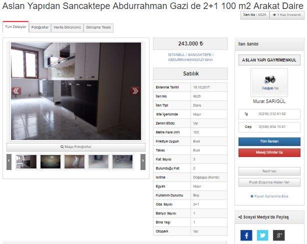 Aslan Yapıdan Sancaktepe Abdurrahman Gazide  2+1 100 m2 Arakat Daire h...
