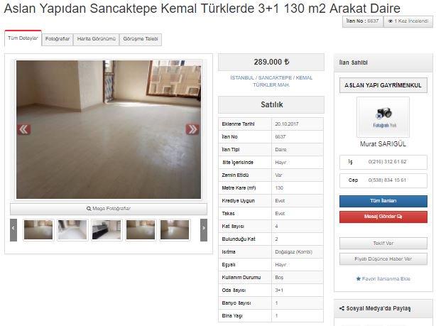 Aslan Yapıdan Sancaktepe Kemal Türklerde  3+1 130 m2 Arakat Daire http...