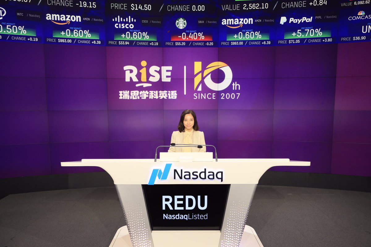 We are proud to welcome Rise Education Cayman Ltd. to @NASDAQ, which gives children the opportunity to study in a fun and completely immersive English environment. ✍️$REDU