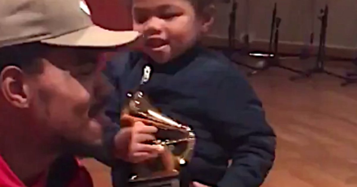 Chance the Rapper unboxing his Grammys with his daughter is too cute for words: https://t.co/OrpXrXA3xG