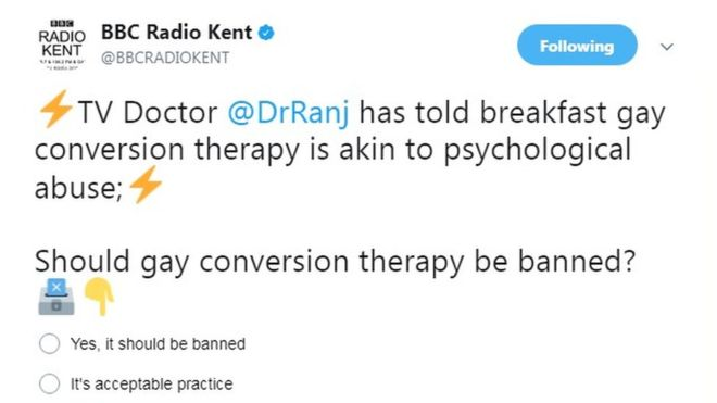 The BBC apologises for an online poll that asked whether gay conversion therapy is acceptable practice https://t.co/4rtx4EXnmw