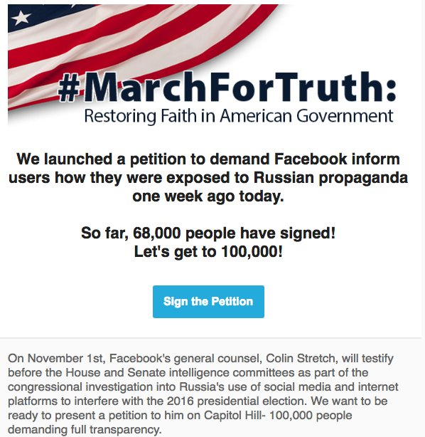 One week ago, #MarchForTruth launched this petition. We need your help to get to 100k signatures.  https:// goo.gl/gWqe4q  &nbsp;   #Friyay<br>http://pic.twitter.com/DpT7t8d6mg