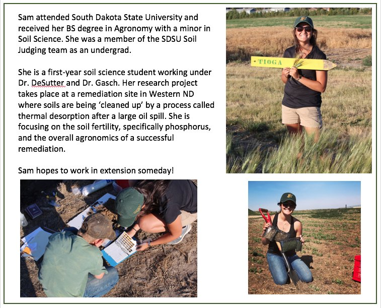 Sam Croat is an MS student in Soil Science. Her project: #soil  #remediation #phosphorus #fertility and #agronomy @NDSUGradSchool<br>http://pic.twitter.com/7KSnYEQxX1