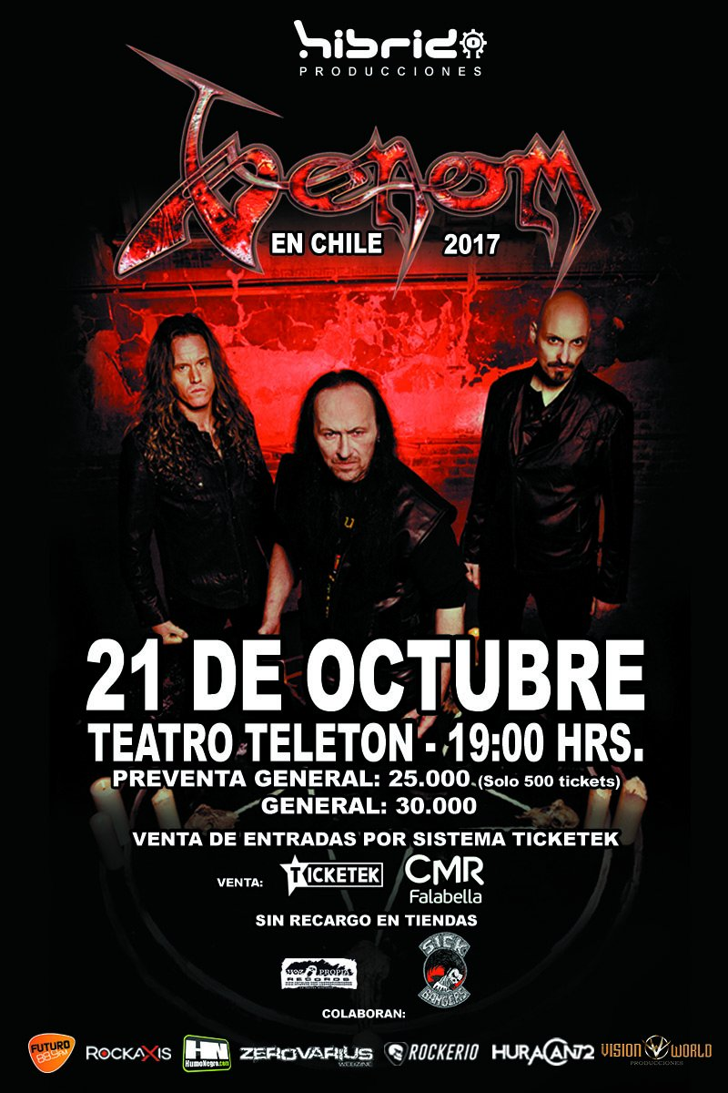 Don&#39;t forget , tomorrow in #Chile  Welcome from hell to @VenomsLegions  \m/<br>http://pic.twitter.com/P4OqI6UXav
