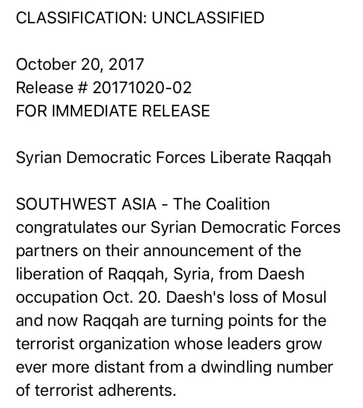 US CentCom describes Raqqa as where IS planned, financed, executed or inspired 'attacks in Paris, Brussels, Nice, Manchester & many others'.