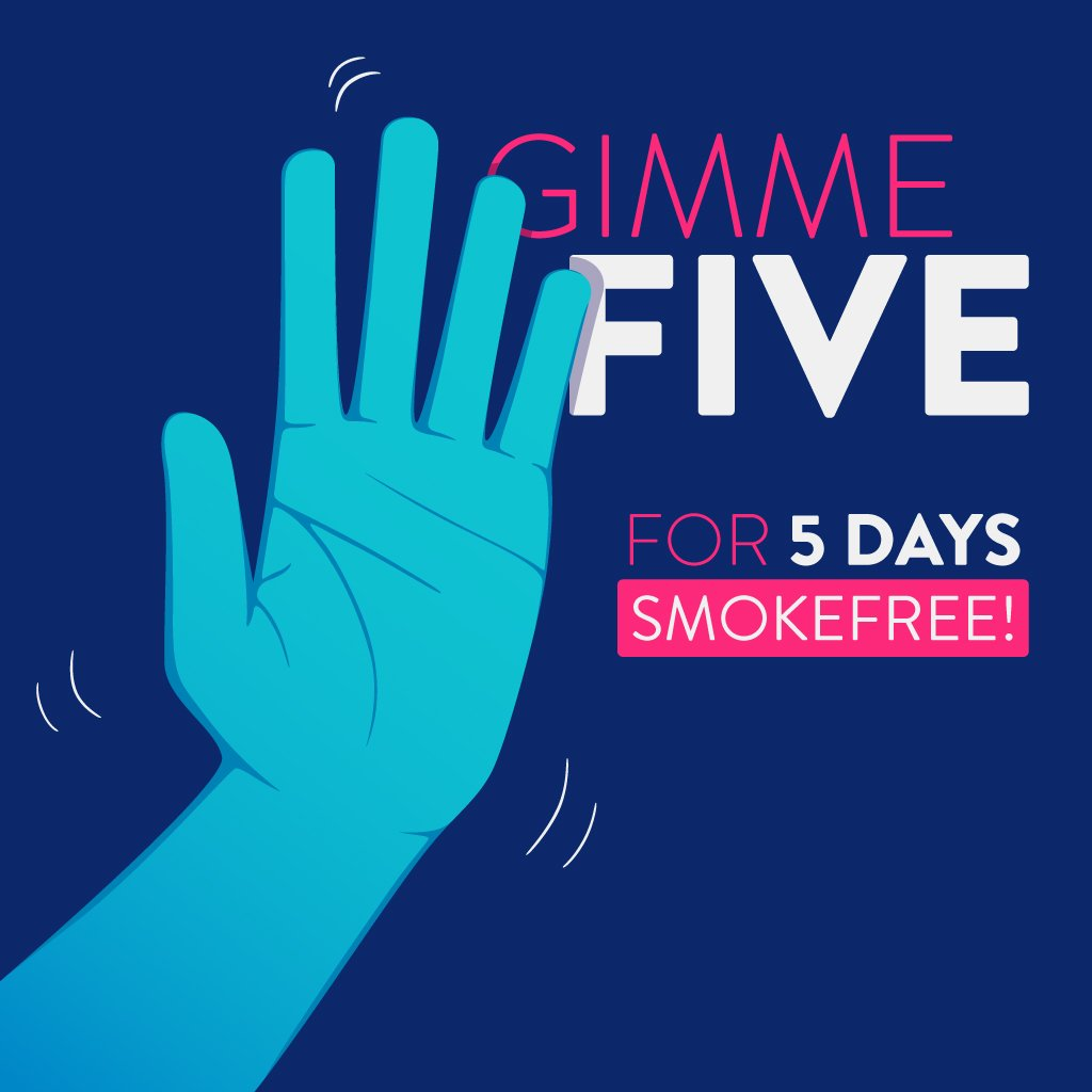 Congrats to those that have hit 5 days of #Smokefree bliss! RT to celebrate this great accomplishment!